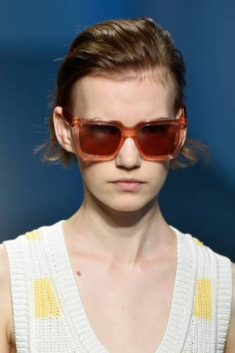 MILAN, ITALY - SEPTEMBER 22: A model, sunglasses detail, walks the runway at the Boss show during the Milan Fashion Week Spring/Summer 2020 on September 22, 2019 in Milan, Italy. (Photo by Pietro D'Aprano/Getty Images)