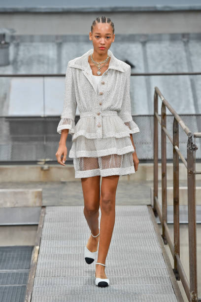 PARIS, FRANCE - OCTOBER 01: A model walks the runway during the Chanel Ready to Wear Spring/Summer 2020 fashion show as part of Paris Fashion Week on October 01, 2019 in Paris, France. (Photo by Victor VIRGILE/Gamma-Rapho via Getty Images)
