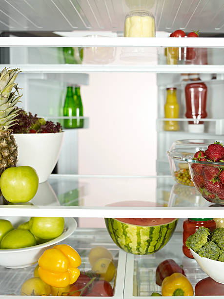 """Fridge full of fruits, vegetables and diary products."""