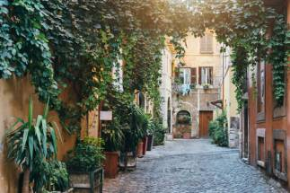 Alley of Trastevere neighbourhood in Rome, Italy.