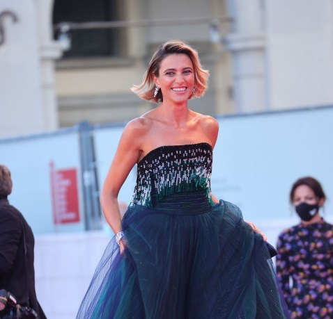Anna Foglietta poses on the red carpet with the Golden Lion Lifetime achievement award after the Opening Ceremony during the 77th Venice Film Festival on September 02, 2020 in Venice, Italy. (Photo by Matteo Chinellato/NurPhoto via Getty Images)