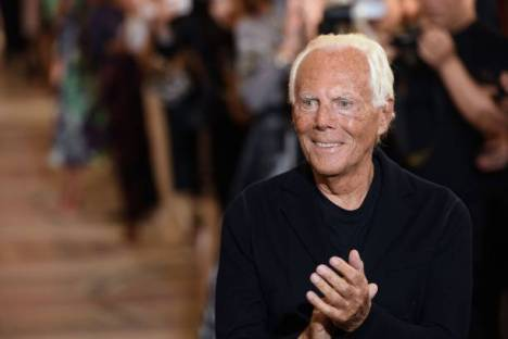 Italian fashion designer Giorgio Armani acknowledges the audience at the end of his Women's Fall-Winter 2019/2020 Haute Couture collection fashion show in Paris, on July 2, 2019. (Photo by CHRISTOPHE ARCHAMBAULT / AFP) (Photo credit should read CHRISTOPHE ARCHAMBAULT/AFP via Getty Images)