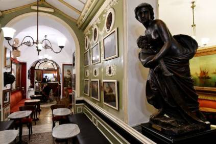 A room of the Antico Caffe Greco, in Via dei Condotti, central Rome, is pictured on January 15, 2018. The Caffe Greco, founded in 1760 by Greek Nicola della Maddalena, is the second oldest coffee in Italy after the Caffe Florian in Venice. / AFP PHOTO / Alberto PIZZOLI (Photo credit should read ALBERTO PIZZOLI/AFP via Getty Images)