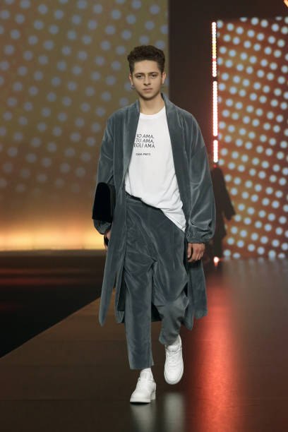 """ROME, ITALY - FEBRUARY 19: A model walks the runway at the Casa Preti """"Ama"""" Fashion Show during the Altaroma 2021 on February 19, 2021 in Rome, Italy. (Photo by Elisabetta Villa/Getty Images)"""