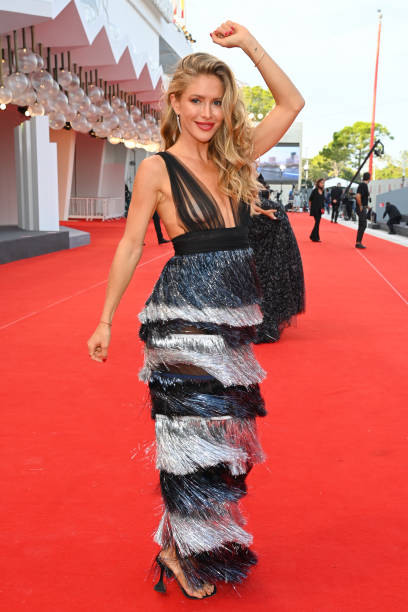"""VENICE, ITALY - SEPTEMBER 07: Maja Malnar attends the red carpet of the movie """"Qui Rido Io"""" during the 78th Venice International Film Festival on September 07, 2021 in Venice, Italy. (Photo by Pascal Le Segretain/Getty Images)"""