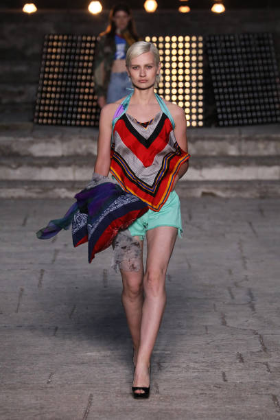 ROME, ITALY - JULY 08: A model walks the runway wearing a Yekaterina Ivankova dress at the Rome is My Runway #1 fashion show during Altaroma 2021 at Cinecitta Studios on July 08, 2021 in Rome, Italy. (Photo by Ernesto S. Ruscio/Getty Images)