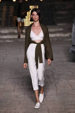 ROME, ITALY - JULY 08: A model walks the runway wearing Zerobarracento at the Rome is My Runway #1 fashion show during Altaroma 2021 at Cinecitta Studios on July 08, 2021 in Rome, Italy. (Photo by Ernesto S. Ruscio/Getty Images)