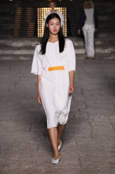 ROME, ITALY - JULY 08: A model walks the runway wearing Francesca Marchisio at the Rome is My Runway #1 fashion show during Altaroma 2021 at Cinecitta Studios on July 08, 2021 in Rome, Italy. (Photo by Ernesto S. Ruscio/Getty Images)