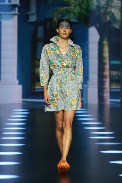 """ROME, ITALY - JULY 09: A model walks the runway at the Roi Du Lac """"Cuba Libre"""" fashion show during Altaroma 2021 at Cinecitta Studios on July 09, 2021 in Rome, Italy. (Photo by Elisabetta Villa/Getty Images)"""