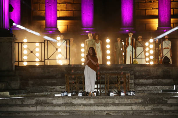 ROME, ITALY - JULY 09: Chiara Perrot walks the runway wearing a Chiara Perrot dress at the Rome Is My Runway #2 fashion show during Altaroma 2021 at Cinecitta Studios on July 09, 2021 in Rome, Italy. (Photo by Elisabetta Villa/Getty Images)