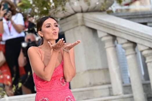 Italian actress Serena Rossi, who is to host the opening and closing nights of the 78th Venice International Film Festival, blows a kiss as she poses for photographers during a photo call on the terrace of the Excelsior Hotel at Venice Lido on August 31, 2021, on the eve of the festival's opening. (Photo by MIGUEL MEDINA / AFP) (Photo by MIGUEL MEDINA/AFP via Getty Images)
