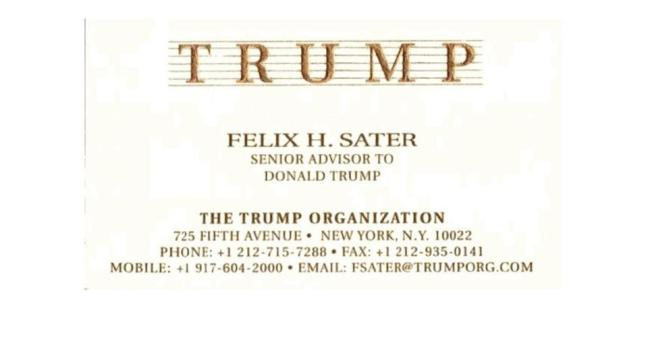 Felix Sater's Trump Organization business card.