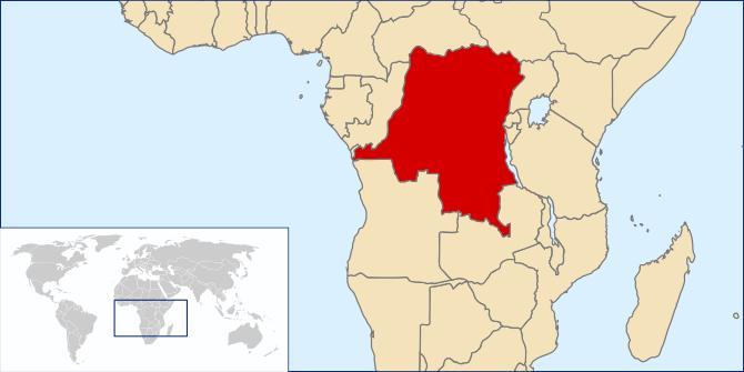 English: Map showing Dominican republic of Congo
