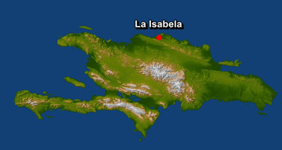 Localización de La Isabela en una imagen de satélite de la isla de La Española