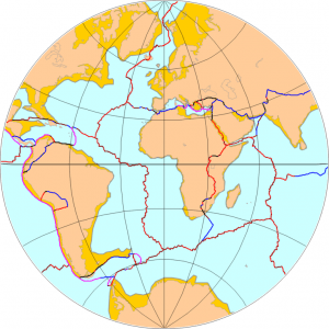Outlines of Earth's eight tectonic plates, with African Plate at center. Credit: Micheletb_Data via Wikimedia Commons.