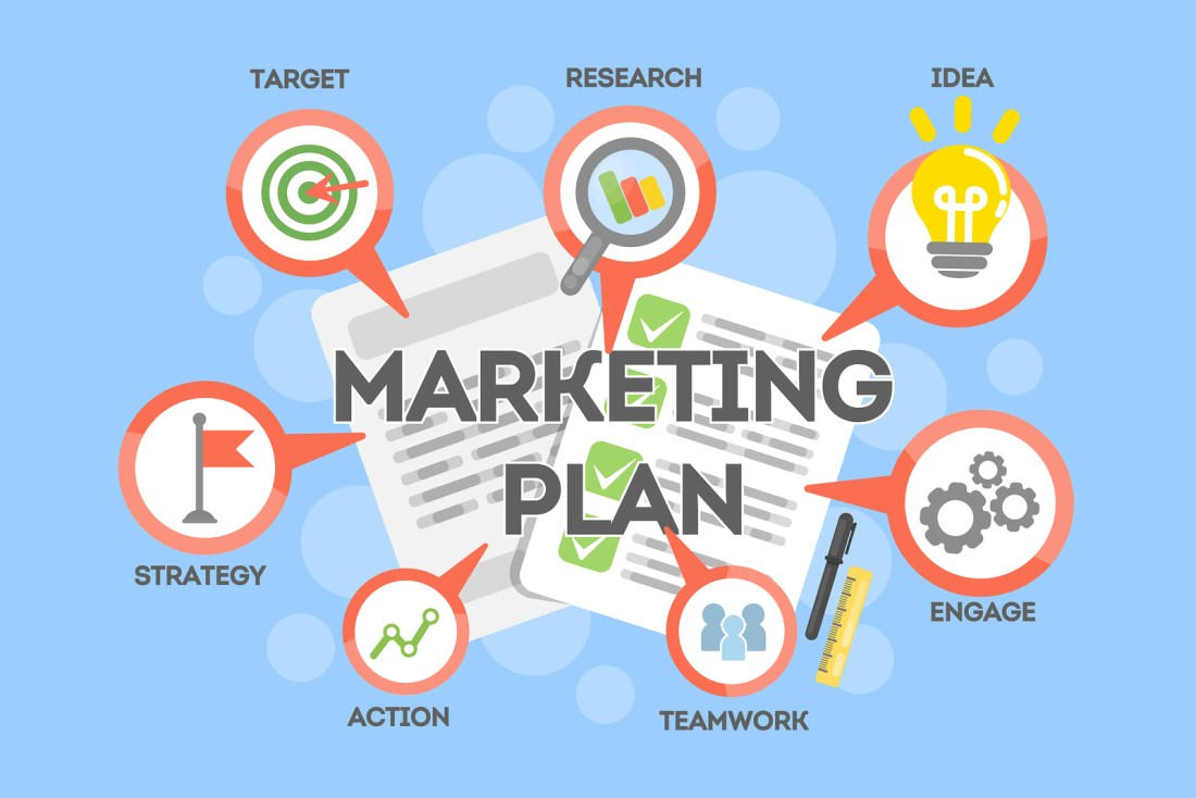 Marketing plan concept. Searching and targeting, planning and earning.