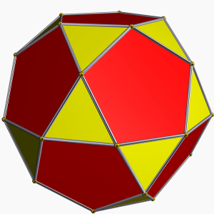 "The icosidodecahedron, a solid ""halfway through"" the transition from dodecahedron to its dual, the icosahedron. Image: Tomruen, via Wikipedia. Created using Robert Webb's Great Stella software."