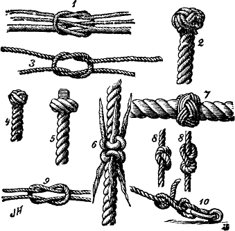 "Some knots that are really tangles. In a post about  tangle machines, Daniel Moskovich imagines telling another professional that he, a mathematician, studies knots: ""Why knots? Do I want to tie ships to their moorings more securely? What am I up to? Why would a mathematician study knots?"" Image: public domain, from Nordisk Familjebok, via Projekt Runeberg, and Wikimedia Commons."