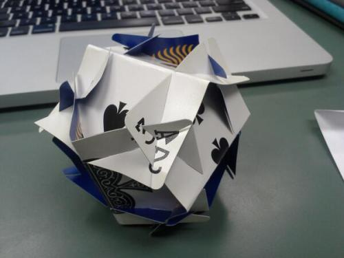 A 6-card ball I made using Andrea Hawksley's template. Click for instructions. Image: Evelyn Lamb.