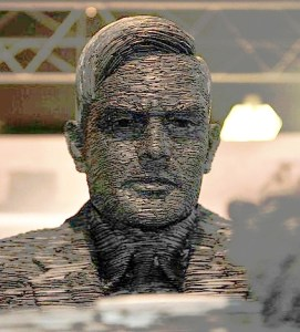 A statue of Alan Turing at Bletchley Park, by artist Stephan Kettle. Photograph: Sjoerd Ferwerda, via Wikimedia Commons.