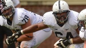 John Urschel (#64) playing for Penn State in 2012. Image: Penn State, via Flickr.