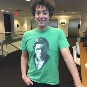 Rubinstein making everyone at ICERM jealous in his Ramanujan swag.