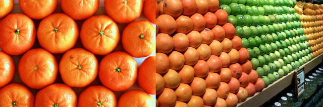 A hexagonal packing of oranges creates the base layer on the left, and then the pyramid continues to rise using the hexagonal close packing.  Image via Jeremy Jenum Flickr Creative Commons.
