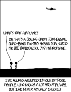 Mathematicians under a plane from xkcd.