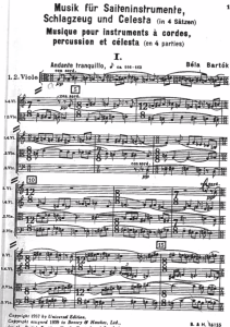 The first page of the score of Bartok's Music for Strings, Percussion and Celesta.