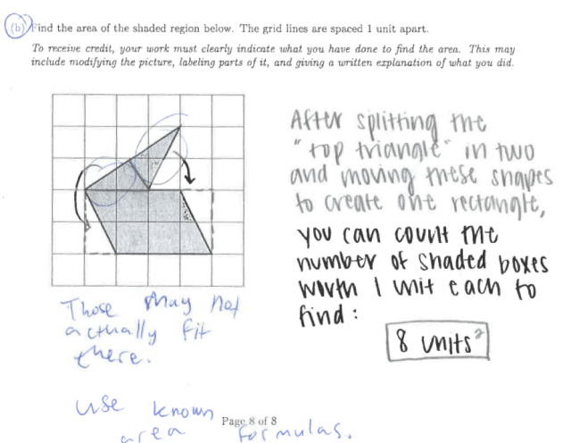 Sample student work on area problem, part 1b