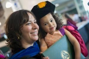 Amanda and Carolina graduating with a PhD in Mathematics from Binghamton University