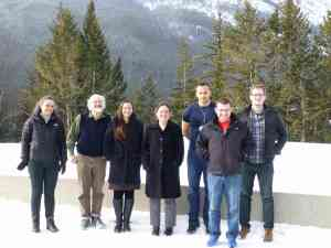 The FRG, left to right: Xenia de la Ossa (Oxford University), Steven Sperber (University of Minnesota), yours truly, Ursula Whitcher (University of Wisconsin Eau Claire), Andreas Malmendier (Colby College), Tyler Kelly (University of Pennsylvania), and Andrew Harder (University of Alberta). Not pictured: Charles Doran (University of Alberta).