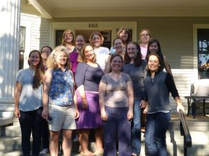 Group photo of the ladies of Sage. Left to right: yours truly, Yiwei She, Kristin Lauter, Beth Malmskog, Amy Feaver, Michelle Manes, Christelle Vincent, Ursula Whitcher, Jen Berg, Aly Deines, Kate Thompson, Yasemin Kara, Anne Ho, Lily Khadjavi. Not pictured: Alina Bucur, Jen Balakrishnan.