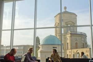 The view from the lounge. Left to right: Wouter Castryck, Jan Tuitman, and Alan Lauder.