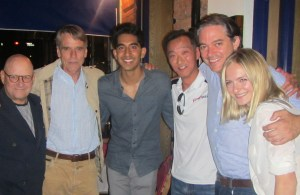 Left to right: Ed Pressman (producer), Jeremy Irons, Dev Patel, Ken Ono, Matt Brown (director) and Sorel Carradine.