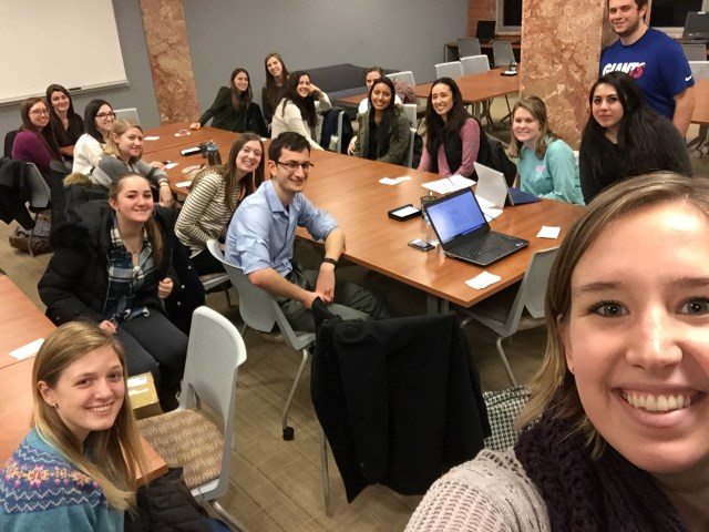 Yay, Villanova Stucent Chapter of the Association of Women in Mathematics! Chapter President Katie Robbins had to explain to me what an Ellen selfie was.