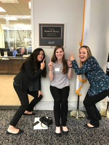 Shantel Silva, Tasha Boland, and Madison Davis, all from Massachusetts, are stoked to be visiting Elizabeth Warren's office!