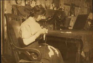 Celina Anzalone, 2264 First Ave. making lace for Cappallino's factory near by. (Library of Congress)
