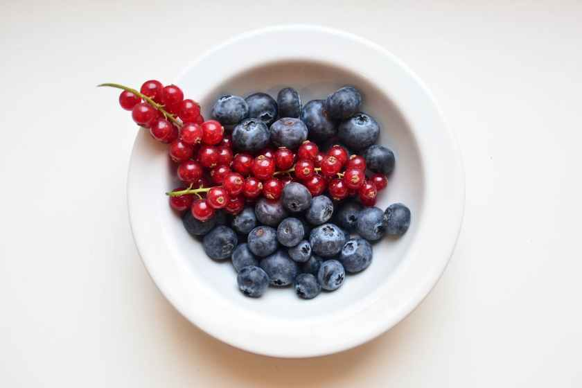 delicious berries in white ceramic bowl