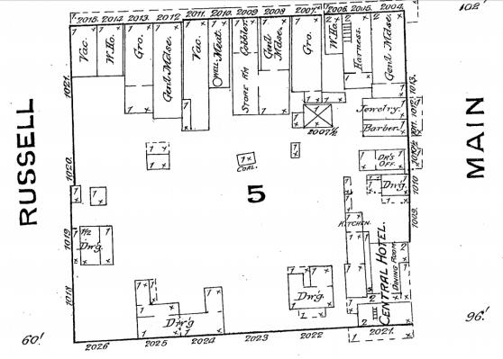 Sanborn map 1886, Russellville