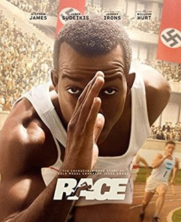 Cover of Race DVD featuring Jesse Owens running against a backdrop of Nazi flags