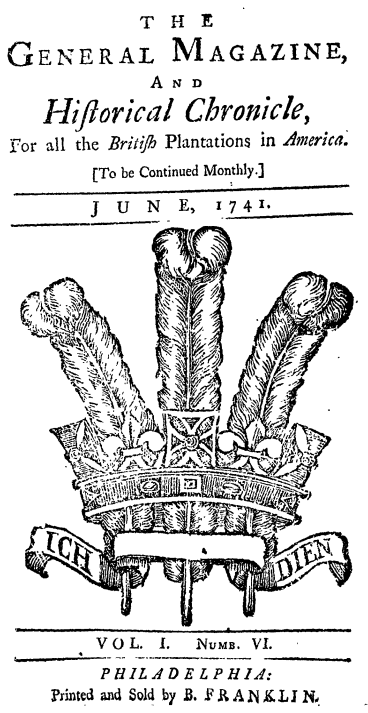 The cover of the first magazine published in North America