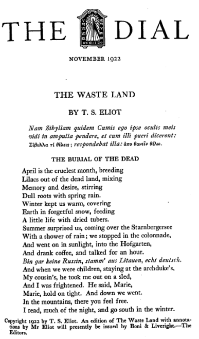 The cover of The Dial with the first published edition of T.S. Eliot's the Wasteland