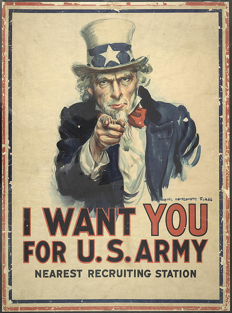 """WWI Poster featuring iconic image of Uncle Same wearing a top hat, blue jacket, white beard, and red tie. Quote: """"I want YOU for U.S. Army""""."""
