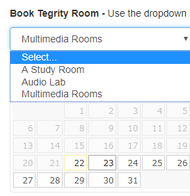 screenshot of how to book a tegrity room from the Book It dropdown.