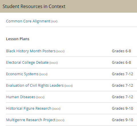 A screenshot of a list of student resources in Context Teacher resources
