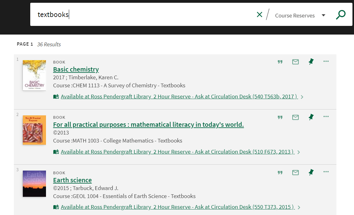 """A screenshot of our course reserves catalog showing results for keyword """"textbooks"""""""