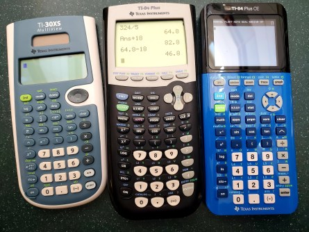 Images of three calculators including a TI-30XS, a TI-84 Plus, and a TI-84 Plus CE all available to check out at the library