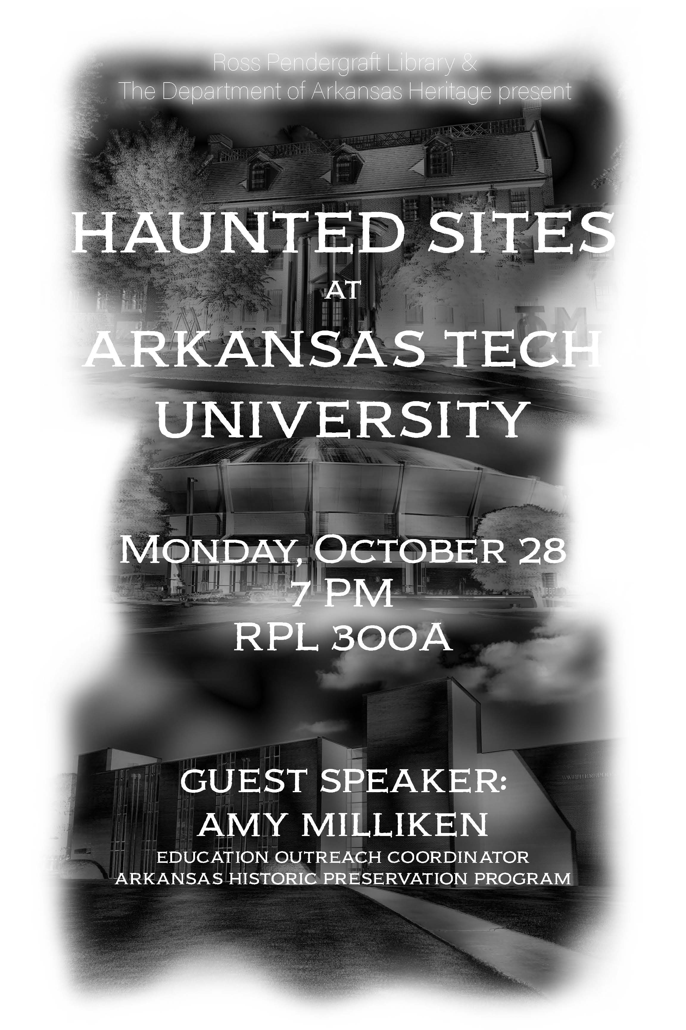 Flyer for haunted sites featuring grayed out images of the buildings of Tucker, Caraway, and Witherspoon