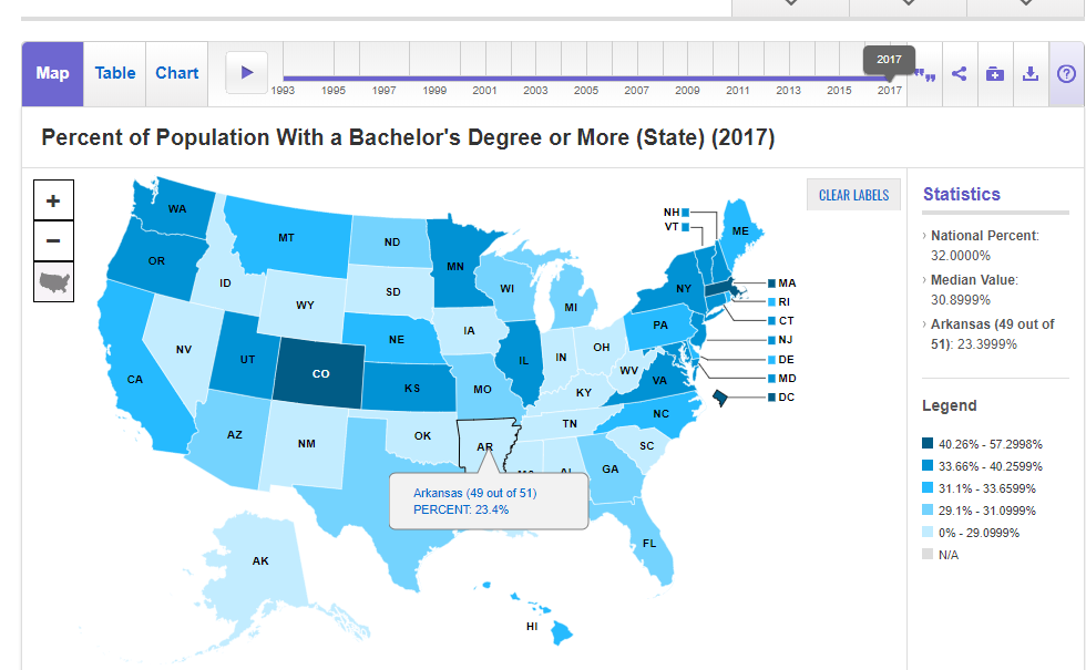 Map from Sage Stats showing the U.S. States and percentages of people with Bachelor's Degrees.